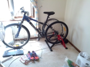 My bike set up for me to ride inside.