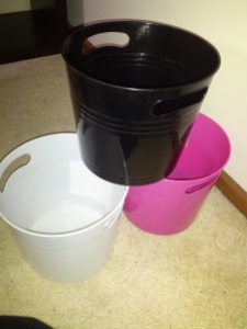 The three buckets that will be the basis for my cleaning sets