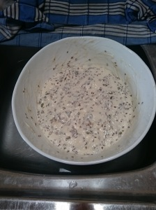 The dough after mixing the flour, leaven and seeds together.